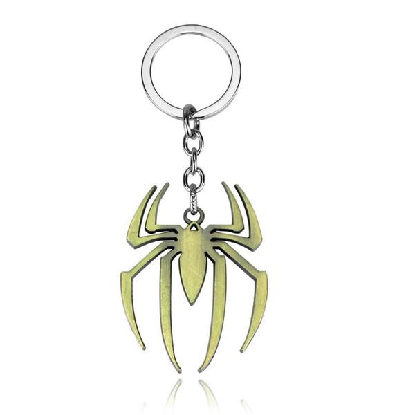 Copper Plated Trendy Alloy children Cartoon animation Spiderman logo KeyChain spider KeyChain Spider man logo Key Chain Ring Pendant y065