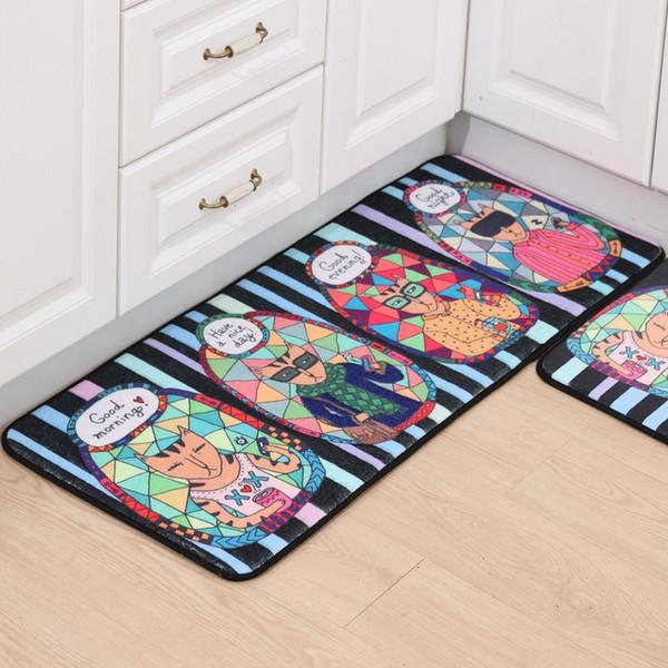 2Pcs Kids Bedroom Cartoon Soft Fleece Floor Mats Living Room Kitchen Area Rug Carpet Doormats Creative