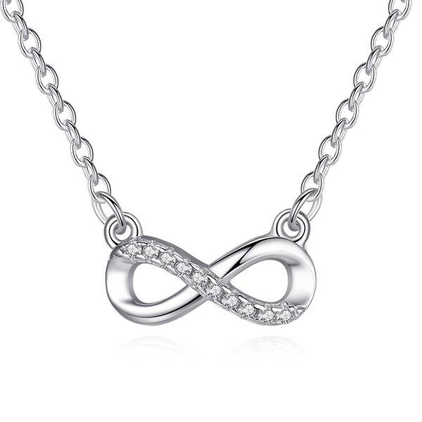 Belawang originale 925 sterling silver charms collane pavimenta strass austriaco collana pendente infinito per le donne regalo gioielli di moda