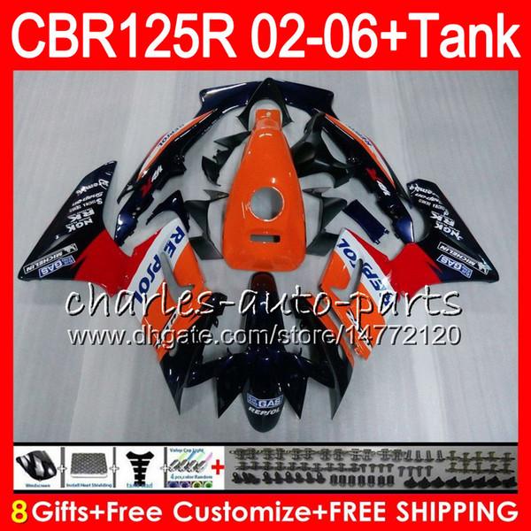 Корпус +бак для Honda CBR125 Р CBR125R 02 03 04 05 06 CBR125RR ЦБ РФ 80HM1 125р 125RR 2002 2003 2004 2005 2006 обтекатель