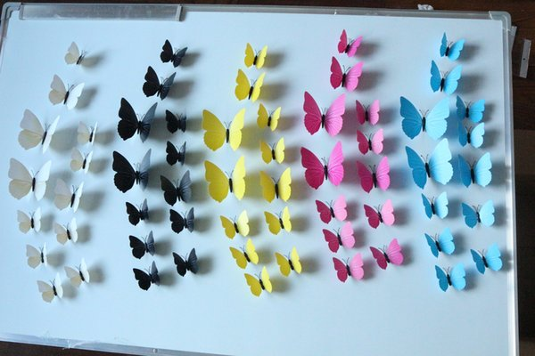 Plastic Flying Butterfly DIY Wall Refrigerator Stickers for Home Decor in Your Beautiful Home 12pcs/lot