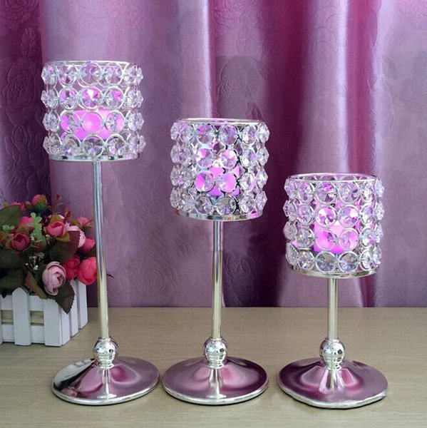 3pcs/set Free shipping metal silver plated crystals candle holder wedding candelabra centerpiece home decoration candlestick