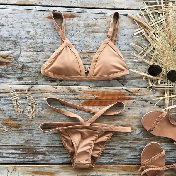 2017 New Solid Khaki Sling Cut Out Wrap Backless Triangle Bikinis Sets Swimwear For Women Swimsuit Beach Wear Bathing Suit S M L