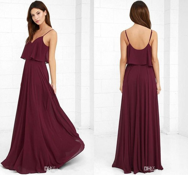 Burgundy Straps Spaghetti Chiffon Bridesmaid Dresses 2017 A Line Sexy Deep V Neck Low Back Maid Of Honor Gowns Cheap Wedding Party Dresses
