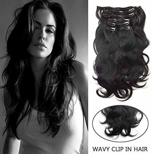 "Body Wave Clip in Hair7Pcs/100g 14""-26'' Thick Full Head Wavy Clip in Human Hair Extensions #1 Jet Black Remy Clip in Hair"