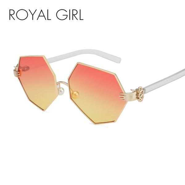 MENINA REAL Nova Moda Gradiente Heptagon Óculos De Sol Das Mulheres Dos Homens Palm Perna Pérola Nariz Pad Designer De Marca Óculos De Sol Feminino Óculos ss228