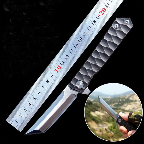 Samurai Sword Critical Folding Knife D2 Blade Titanium Handle Ball Bearing Tactical Knives Survival Outdoor Hunting EDC Tool