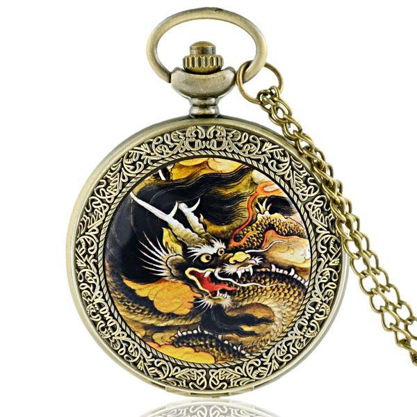 Unique Antique Dragon Necklace Pendant Vintage Pocket Fob Watches With Chain Quartz Clock Watch Arabic Number Display Retro Gift