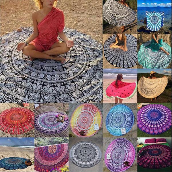 Runde Mandala Indische Tapisserie Strandtuch Bikini Strand Vertuschungen Böhmische Hippie Beachwear Strand Sarongs Schal Badetuch Yoga Matte OOA1421