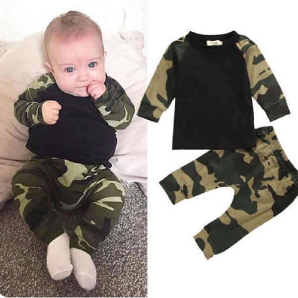 Venta al por mayor- Camuflaje lindo Bebé recién nacido Niños Niños camiseta Top Pantalones largos Ejército verde bebé Niños Ropa Traje Conjunto de ropa