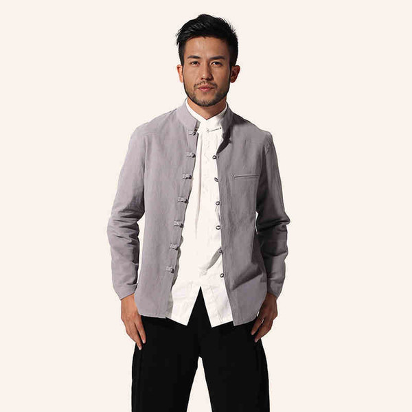 Wholesale- Gray Chinese Style Men Cotton Linen Jacket Long sleeve Coat Kung Fu Tang Suit Top Casual Outwear M L XL XXL XXXL MJ057