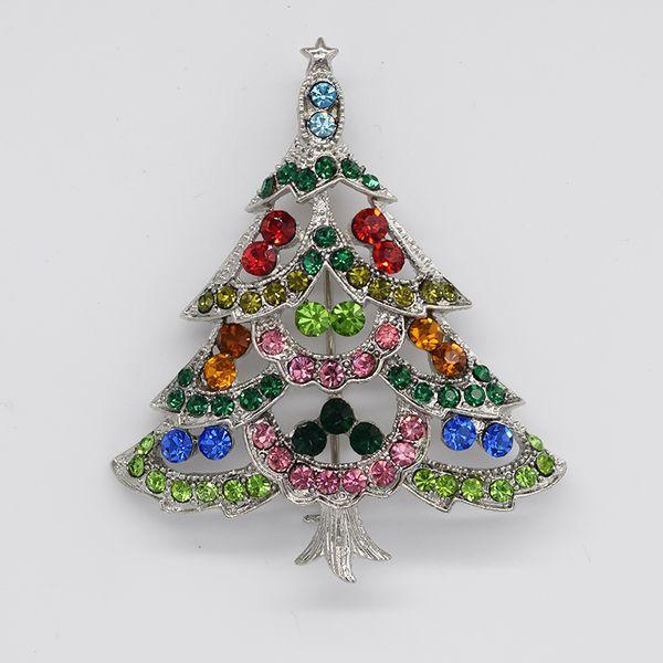12pcs/lot Wholesale Fashion Christmas Brooches Crystal Rhinestone Christmas tree Pin Brooch Christmas gifts C666