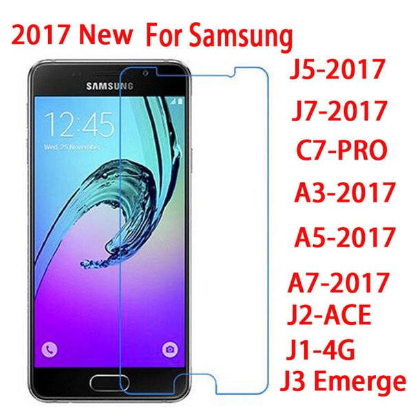 2017 NEW Tempered Glass phone Screen Protector film for Samsung A3 2017 A5-2017 A7-2017 C7-PRO J5-2017 J7-2017 J1-4G J2-ACE J3 Emerge