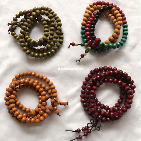 108pcs Prayer Beads Bracelets 4 Style Sandalwood Tibetan Buddhist Mala Buddha Bracelet Rosary Wooden Bangle Jewelry Beaded Strands New 2017