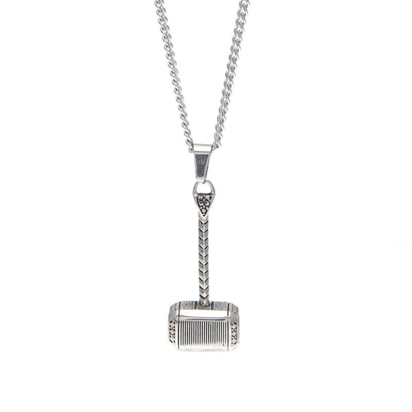Men Stainless Steel Hip Hop Necklace Hammer Pendants Jewelry Design Punk Filling Pieces Mens Fashion 60cm Long Chain For Men