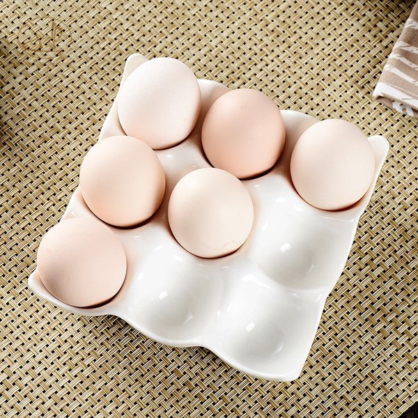creative 9 grids 12 grids white ceramic egg tray container