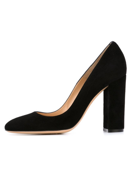 Zandina Ladies Handmade Fashion Thick Block Heel Closed Toe High Heel Party Office Pumps Shoes Blacksuede