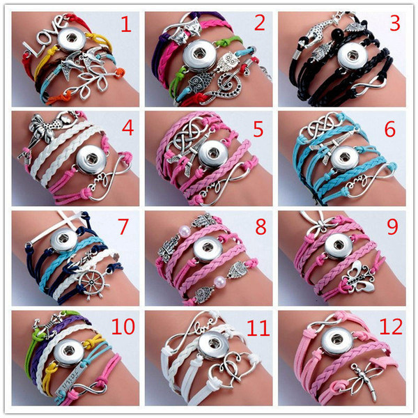 Noosa 12pcs Lot Mix Style Snap Infinity Leather Bracelet Jewelry Fit 18mm Ginger Snaps Chunk Charm Button