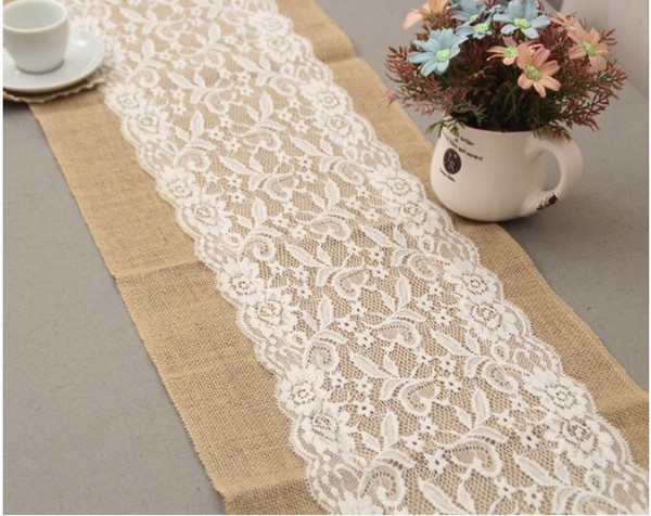 top popular 10PCS lot 30cm*108cm Luxury Lace Burlap Table Runner Wedding Party Table Decoration Linen Home supplies Table Runners 2019