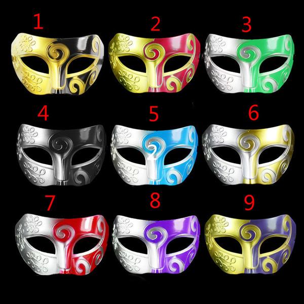 Sliver Black Half Faces Mask For Men Roman Gladiator Mask Venetian Mardi Gras Masquerade Halloween Costume Party Maks Free Ship