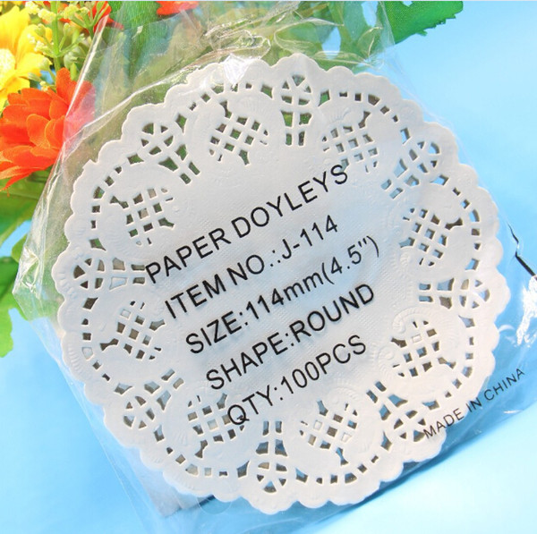 Wholesale-Creative Craft 4.5Inch Diameter 11.4cm Round White Paper Lace Doilies Cake Placemat Party Wedding Gift Decoration 100pcs/pack