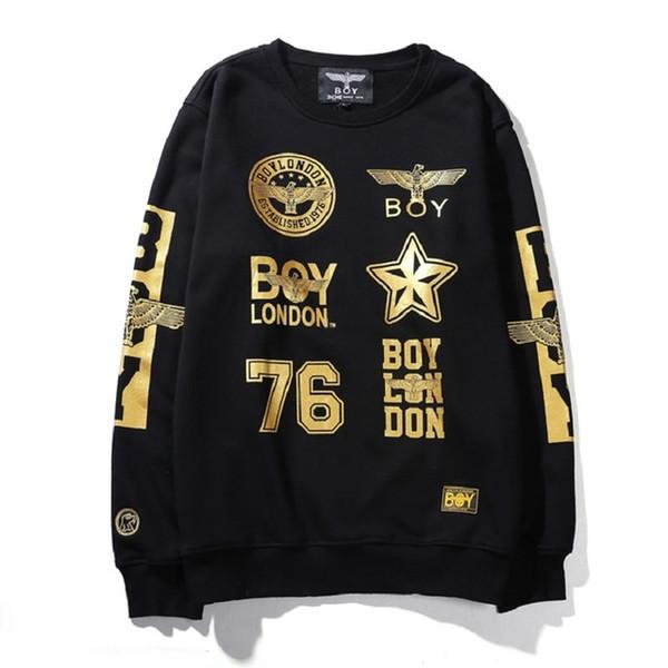 Real Hot Hawk BOY LONDON Fuente dorada Baile hip-hop RAP ROCK Moda de calle Sudadera con capucha de algodón con el chico Lable 6 colores
