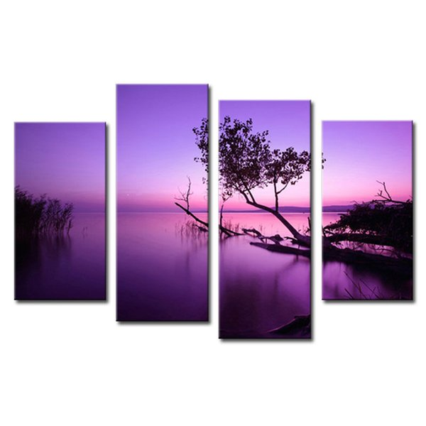 4 Pieces Purple Lake Canvas Print Panels Landscape Paintings on Canvas wiht Wooden Framed Wall Art Ready to Hang for Home Wall
