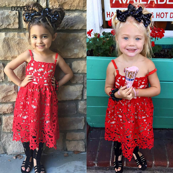 Fashion Hollow Flower Lace Dresses For Baby Girl Kid Costume Summer Children Sling Red Cure Party Princess Frock Clothes