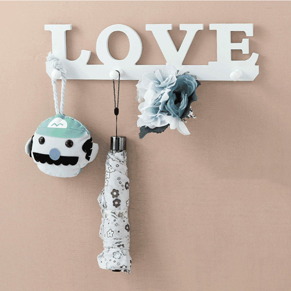 Wholesale- 4 Hooks White Special LOVE Shape Coat Hat Robe Key Holder Rack Wall Storage Hanger Home Room Bathroom Door Organizer Decoration