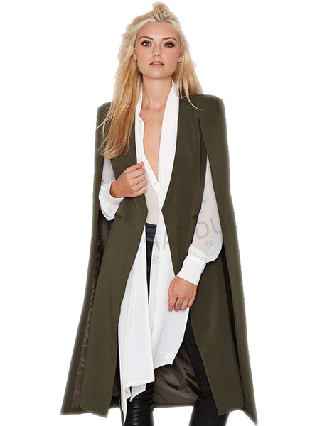 2016 mujeres de moda abrigo Ponchos Chaleco largo Otoño Primavera Capa de puntada abierta AWC0020