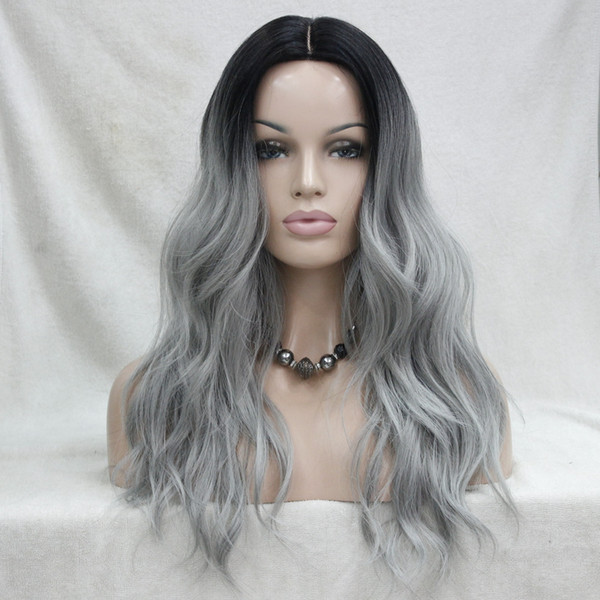 Do Not Cut Lace Front! Hivision Quality Heat Ok Synthetic Black To Grey Ombre Long Wavy Wig