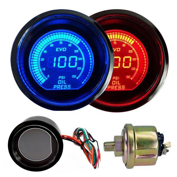 best selling Hot 2 inch 52mm Oil Pressure Gauge 12V Blue & Red LED Light Tint Lens LCD Screen Car Digital Meter Black Universal