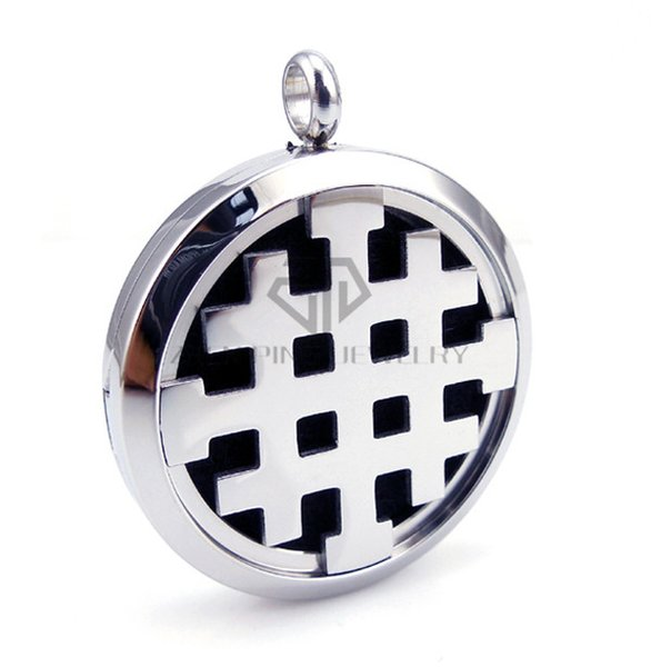 With Chain Round Silver ''Crusaders'' Cross (30mm) Essential Oils Stainless Steel Perfume Diffuser Locket Aromatherapy Locket Necklace