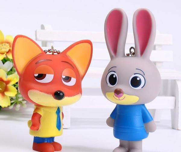 Hot sale cartoon Crazy animal rabbit fox Keychain DIY Intelligence Key Chain Ring Boys&Girls Birthday Key Dolls Gifts Key Holder pendant
