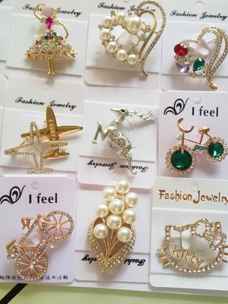 Crystal rhinestone pearl brooches pins insects animals flowers plane brooches high-grade zircon brooches pins party birthday wedding gifts