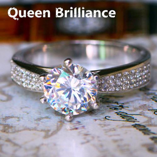 Calidad de lujo 2 quilates NSCD diamantes simulados 925 anillos de compromiso de plata esterlina para las mujeres envío gratis 17903
