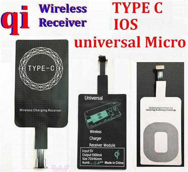 Tipo C 8 pin micro usb Andriod Universal Qi Cargador inalámbrico Adaptador de la bobina de carga para samsung android iphone 7 6s