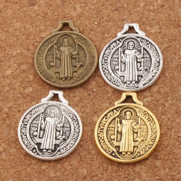 Saint Benedict Medal Cross Smqlivb Charm Beads 115 unids / lote 18.3x21.7mm Antique Silver Pendants Jewelry DIY L496