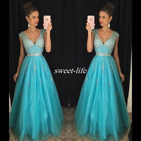 Turquoise Tulle Prom Dresses Backless Cap Sleeve Sparkly Beading Plunging 2017 Cheap Sexy Long Pageant Party Dress Evening Gowns Custom Made