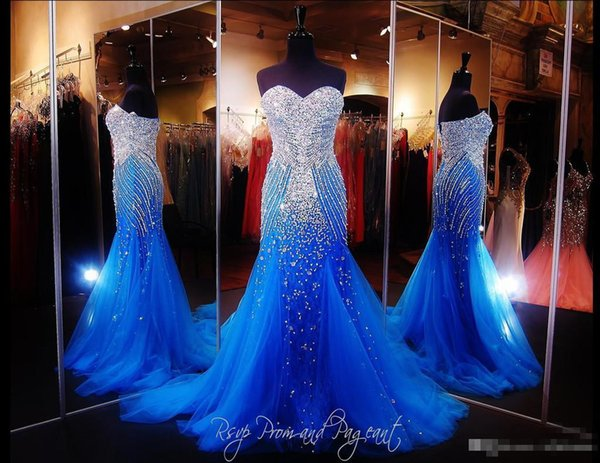 2017 Glamorous Royal Blue Tulle Mermaid Pageant Prom Dresses Sparkly Beaded Crystals Backless Back Evening Special Occasion Gowns Plus Size