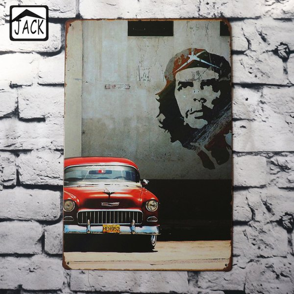 Retro Red Car Wall Decor 20*30CM Metal Plaques Gallery Coffee Shop Bar Wall Home Decor Vintag Tin Signs Decoration