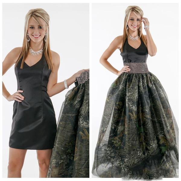 Halter A Line Black Prom Dress With Detachable Camo Skirt Black Tulle Overlay Ladies Camouflage Satin Vestidos De Soiree