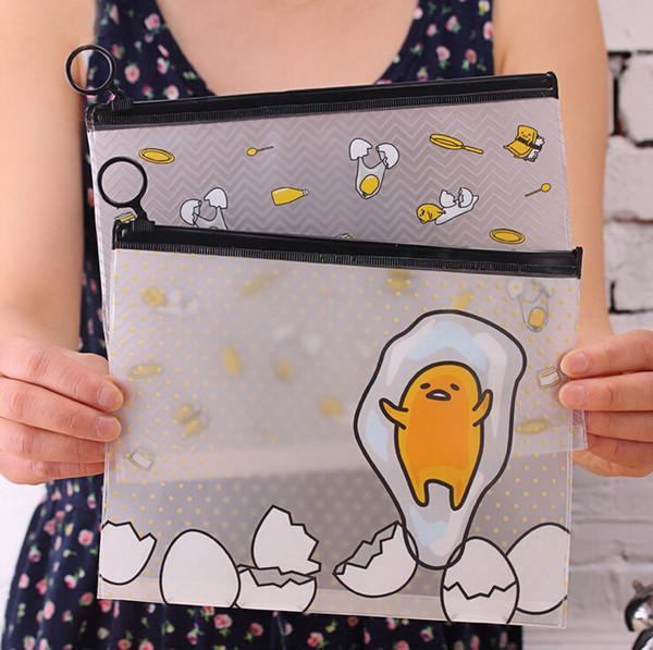 Wholesale- 22*18 cm Novelty Gudetama Lazy Egg Cartoon PVC Document Bag File Folder Stationery Organizer
