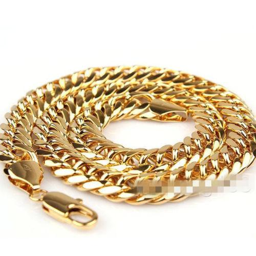 """high-quality 24K Yellow Gold Filled Mens Necklace Solid Cuban Curb Chain Jewelry 23.6"""" 11mm Consecutive years of sales champion"""