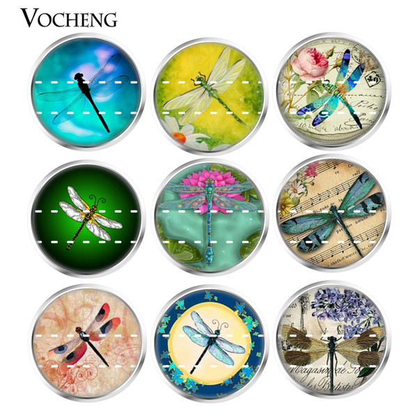 NOOSA Ginger Snap Button Jewelry Colorful Dragonfly Series Glass Snap Charms 18mm Mixed 20pcs/lot Wholesale VOCHENG Vn-1813