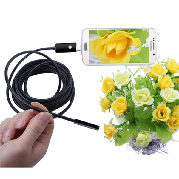 8mm 6 LED PC Android 2 in 1 Endoscope 2.0MP HD 720P USB Borescope Tube Inspection Wire Cameraon Video Cam 6 Adjustable LED Free Shipping
