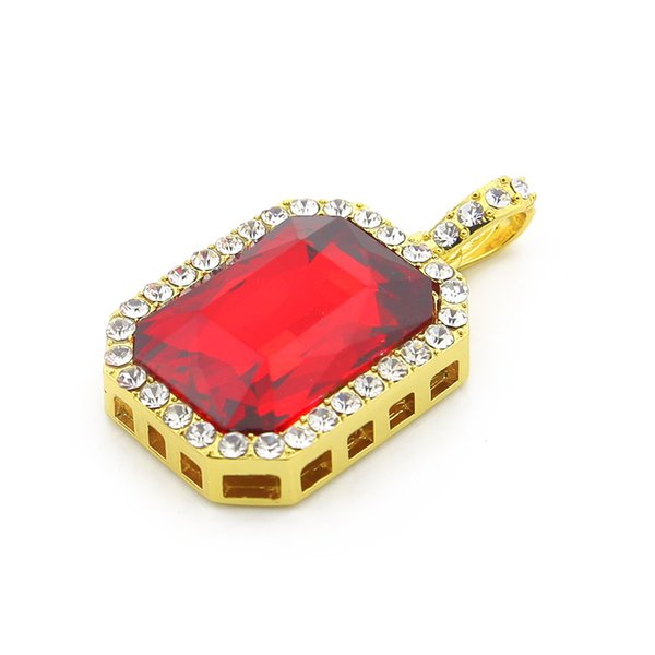 Men Fashion Hip hop Gold Color Iced Out Rhinestone Square Red Blue Crystal Stone Pendant Necklace Chain Jewelry