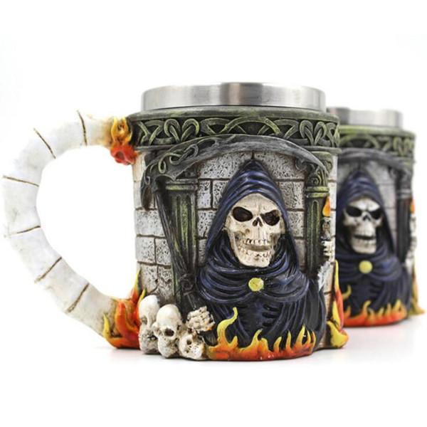 Halloween Christmas Gift 3D Skull Resin Stainless Steel Beer Mug Goblet Funny Wine Coffee Cup Zakka Novelty Pub Bar Decor