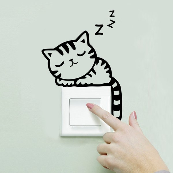 2016 Love Cute Cat sleeping Wall stickers Switch sticker A living room Bedroom Wall Decals wallpaper