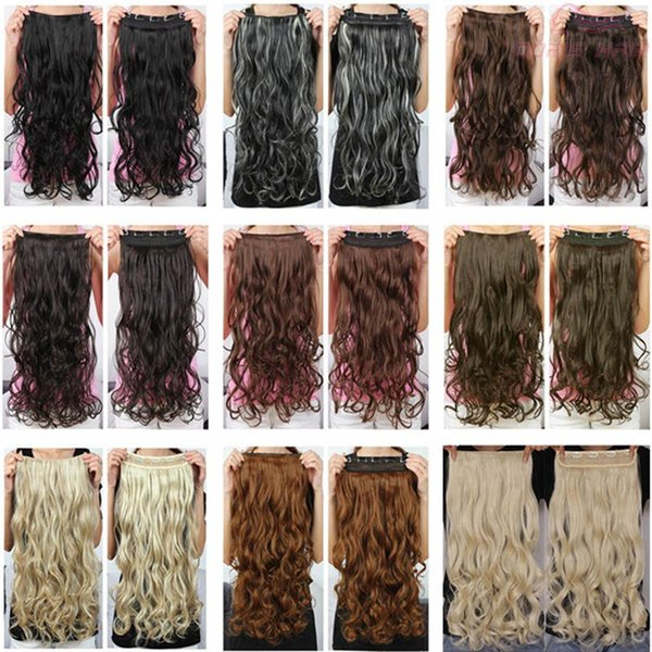 top popular High quality long clip in hair extensions 24inch 130g synthetic hair wavy curly thick one piece for full head Excellent quality hair clips 2019